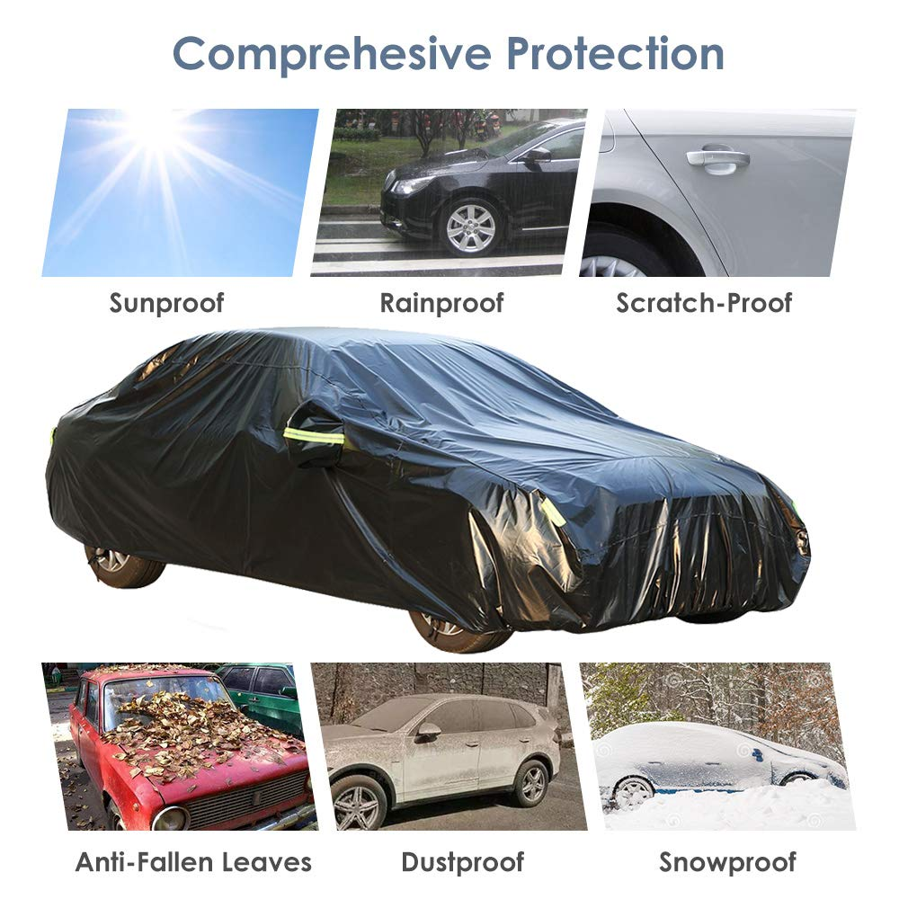 Black, 189 to 200 inch Color Rain Time Outdoor SUV Car Cover UV Protection Waterproof Windproof Dust Proof Scratch Resistant Fits SUV 4XL