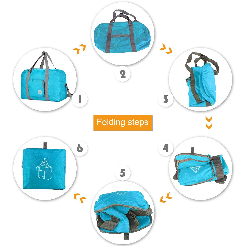 Wandf Foldable Travel Duffel Bag Luggage Sports Gym Water Resistant Nylon, Blue by WANDF (Image #6)