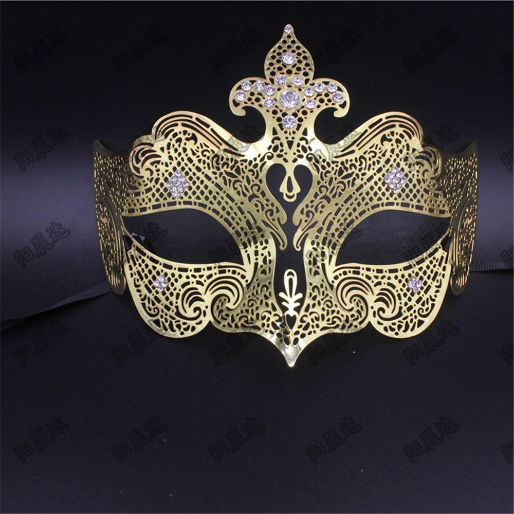 Face mask Shield Veil Guard Screen Domino False Front Party Metal mask Cosplay mask Diamonds Venetian mask mask Dance Christmas mask Female Golden