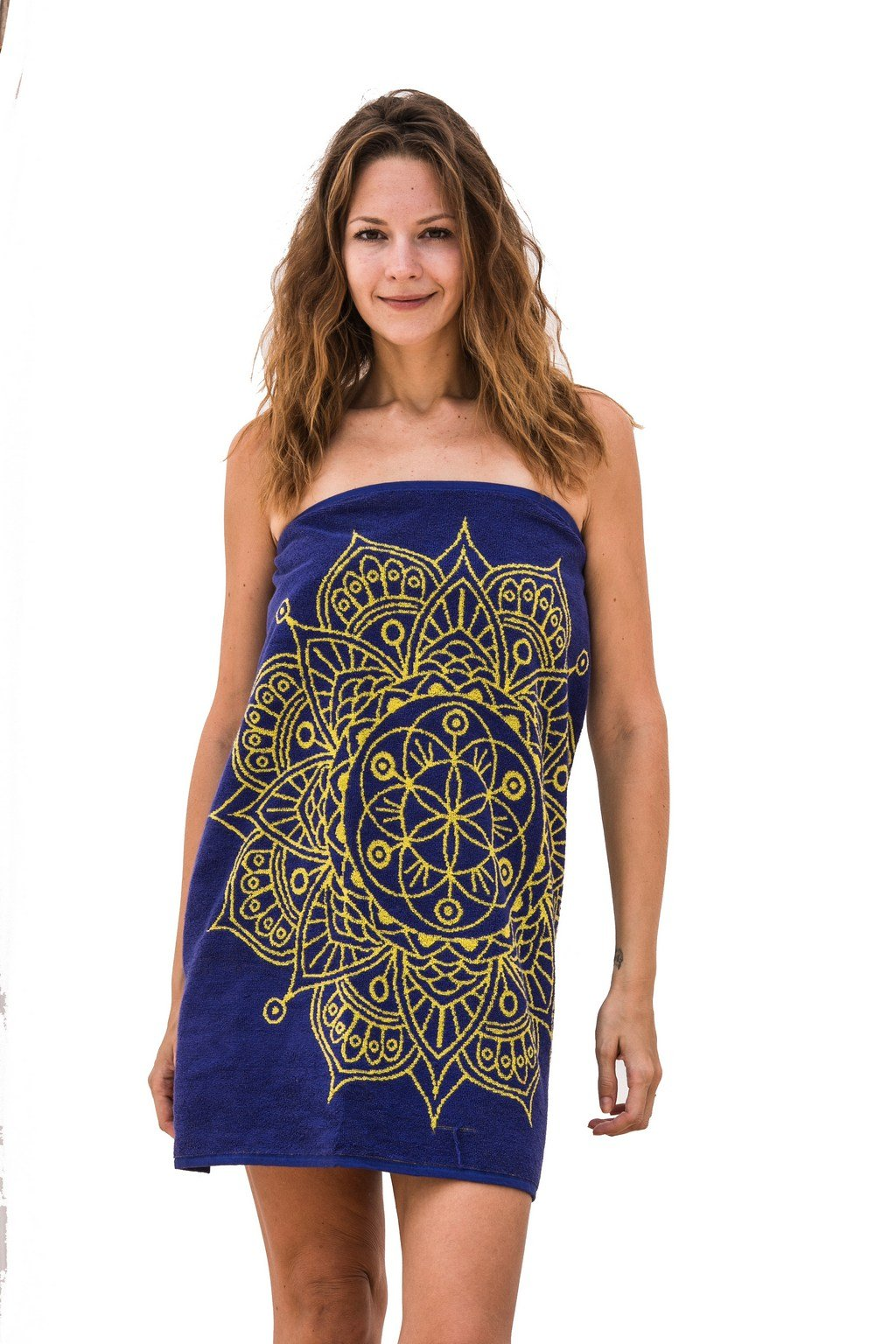 Mandala Life ART Best Bath Towel, Indigo Purple Mandala (Jacquard woven, 52''x27'', Made in Turkey, 100% Cotton) - by