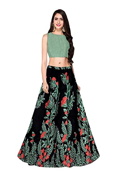 b5ad910733e193 BELOMODA Women s Banglori Satin Silk Printed Semi-Stitched Lehenga Choli  (Black