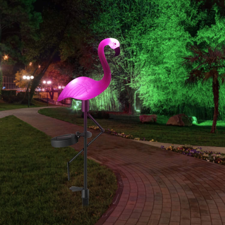 Flamingo Solar Garden Pathway Lights, Waterproof LED Solar Stake Lights Outdoor, Landscape Decorative Lawn Ground Lamp for Garden Patio Yard Path Walkway (Pink)