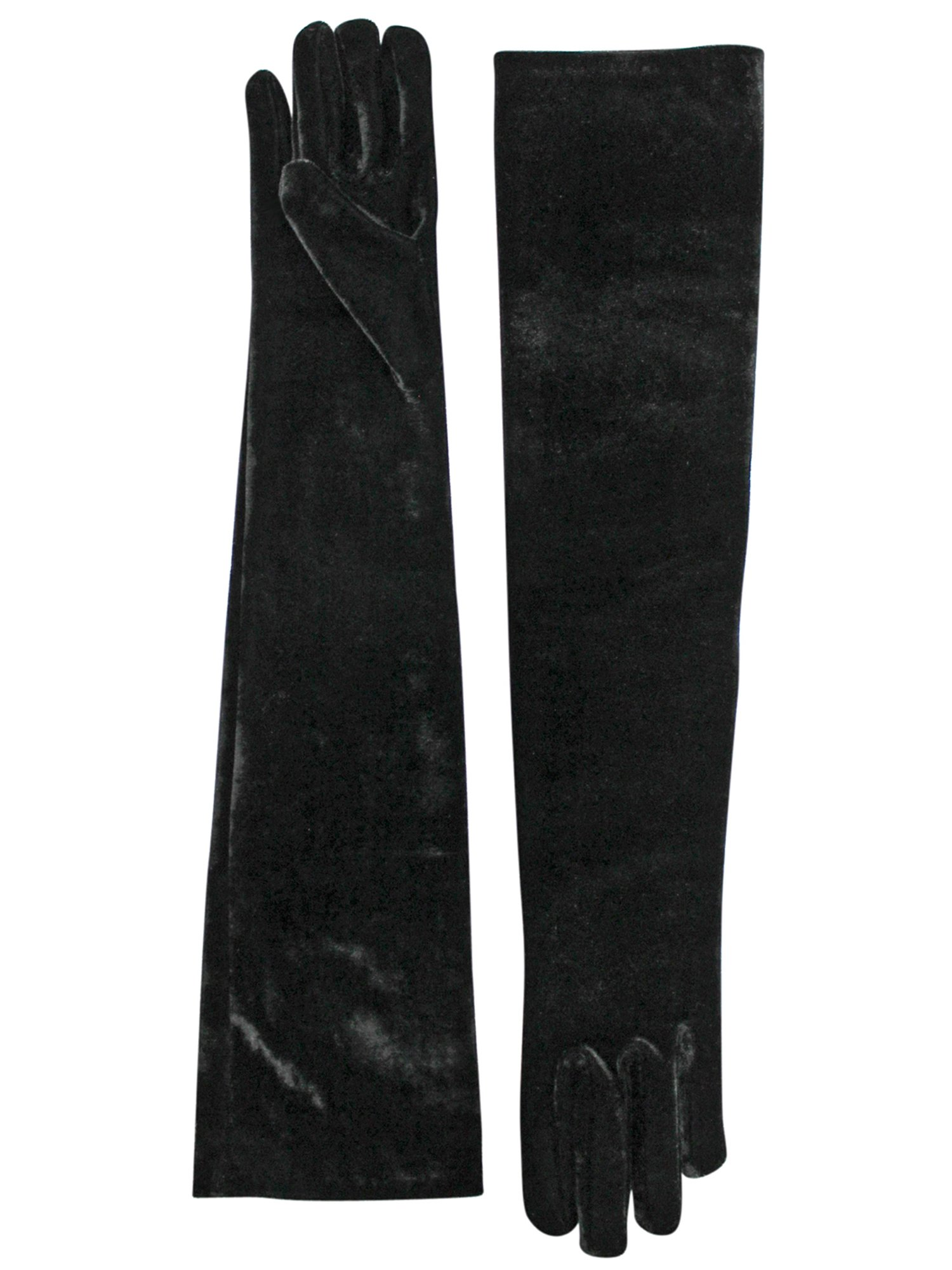 Velvet Black Long 3/4 Opera Arm Length Evening Gloves