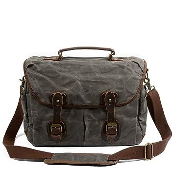 b4c73dc33eae Peacechaos Men s Canvas Leather DSLR SLR Vintage Camera Messenger Bag  (Grey-2)  Amazon.ca  Electronics