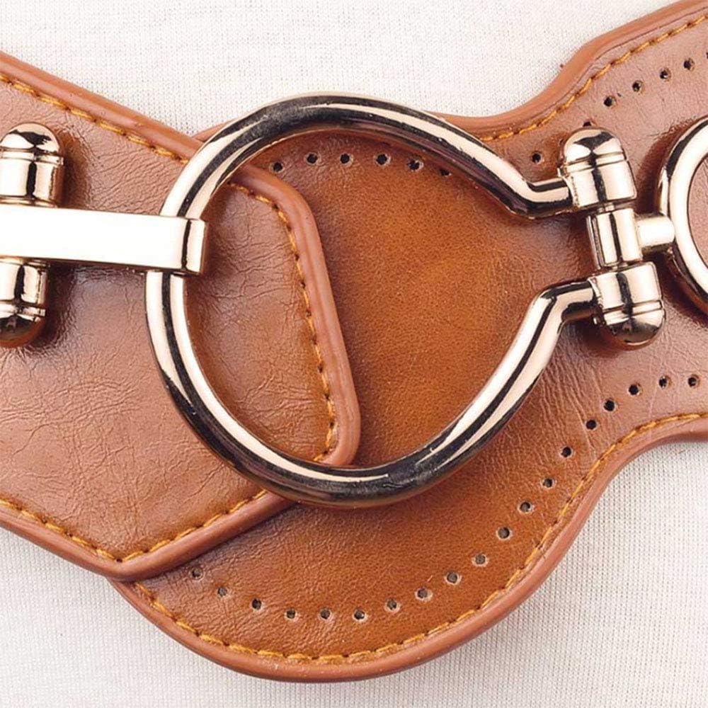 Women Wide Cinch Belt PU Leather Elastic Hip Waist Western Waistband Punk Style Cummerbunds