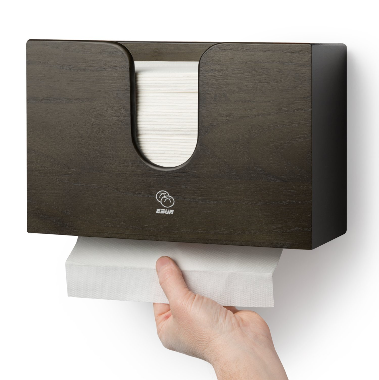 Wooden Paper Towel Dispenser for Kitchen & Bathroom - Wall Mount/Countertop Multifold Paper Towel, C-Fold, Zfold, Tri fold Hand Towel Holder Commercial (Brown)
