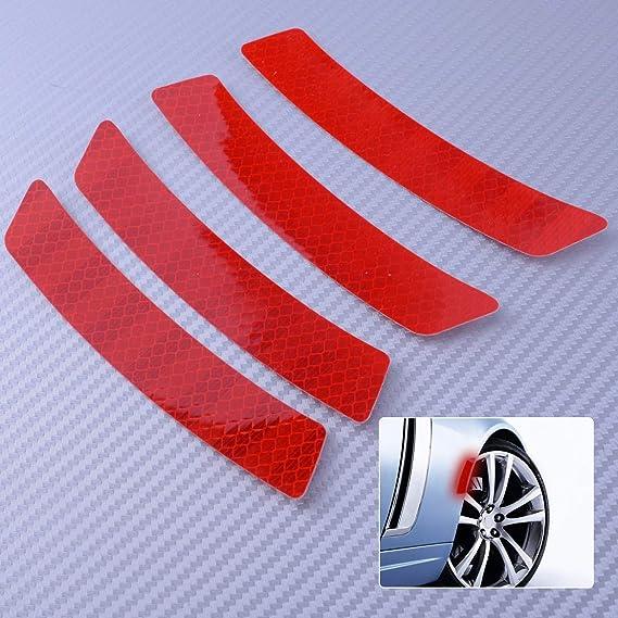4pcs Reflective White Car Wheel Eyebrows Sticker Warning Sign Self-adhesive