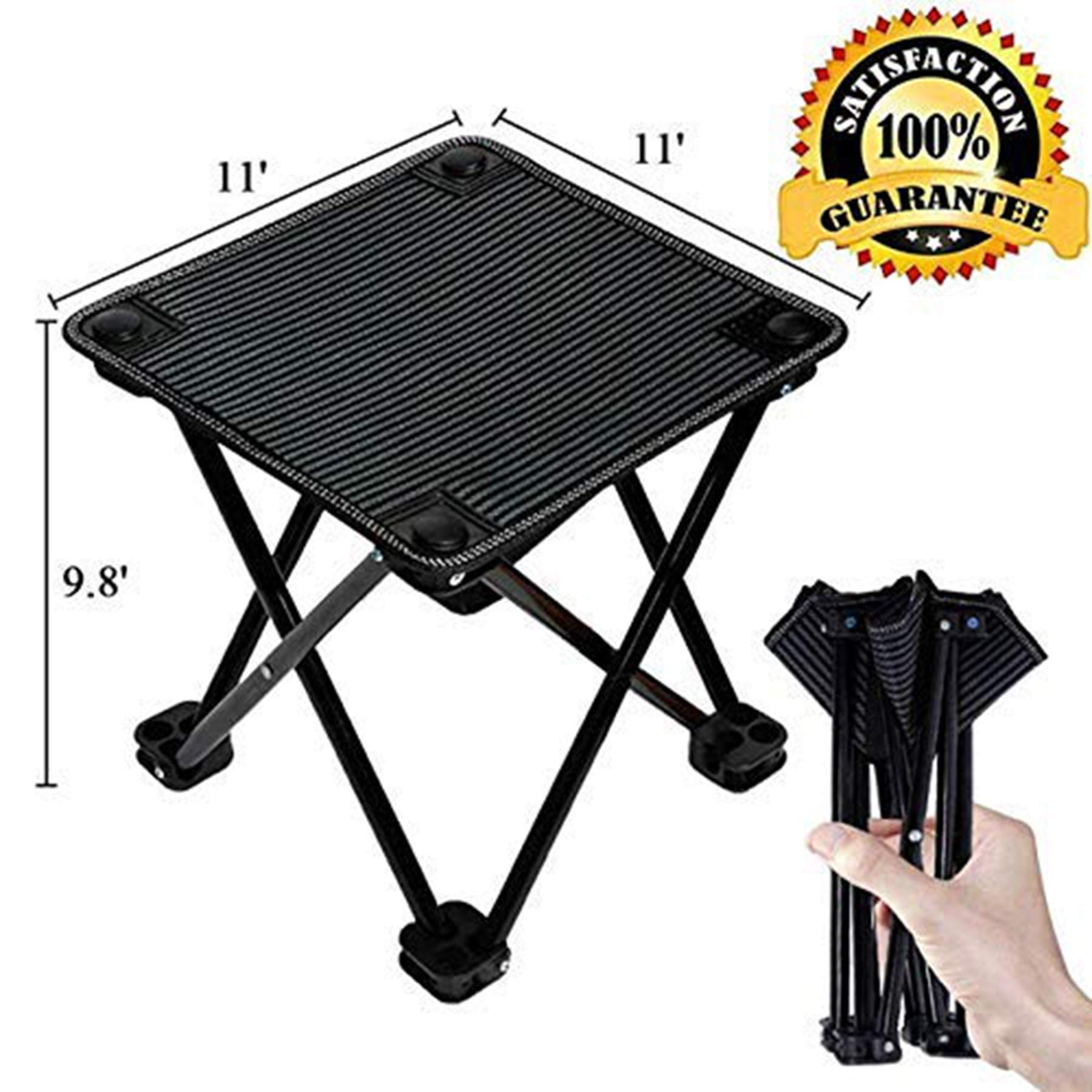 aingycy Folding Portable Camping Stool Mini Lightweight Sturdy Collapsible Chair for Camping, Fishing, Hiking, Fishing, Travel, Beach, Picnic with Portable Bag, Black (Black-Medium) by aingycy