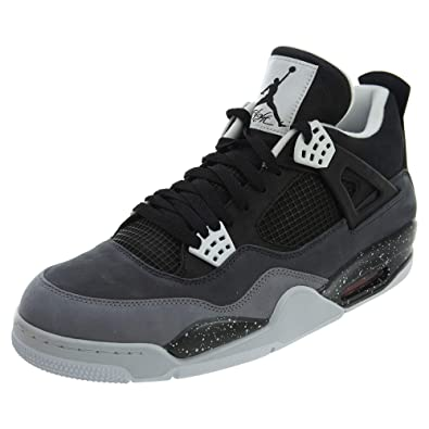 844f57877121 Nike Mens Air Jordan 4 Retro Fear Pack Black Cool Grey Suede Basketball  Shoes Size