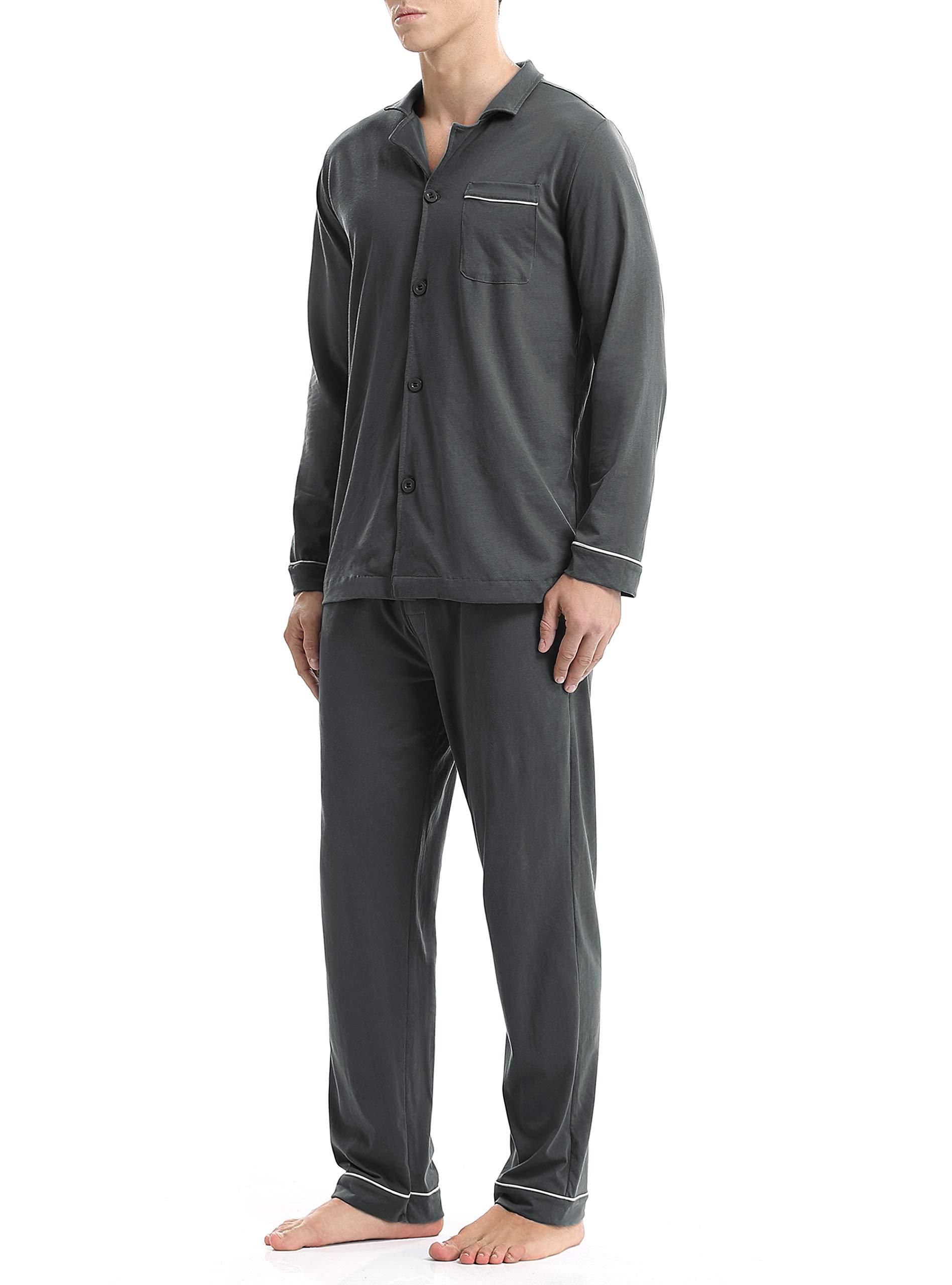 David Archy Men's 100% Cotton Long Button-Down Sleepwear Pajama Set (M, Dark Gray)