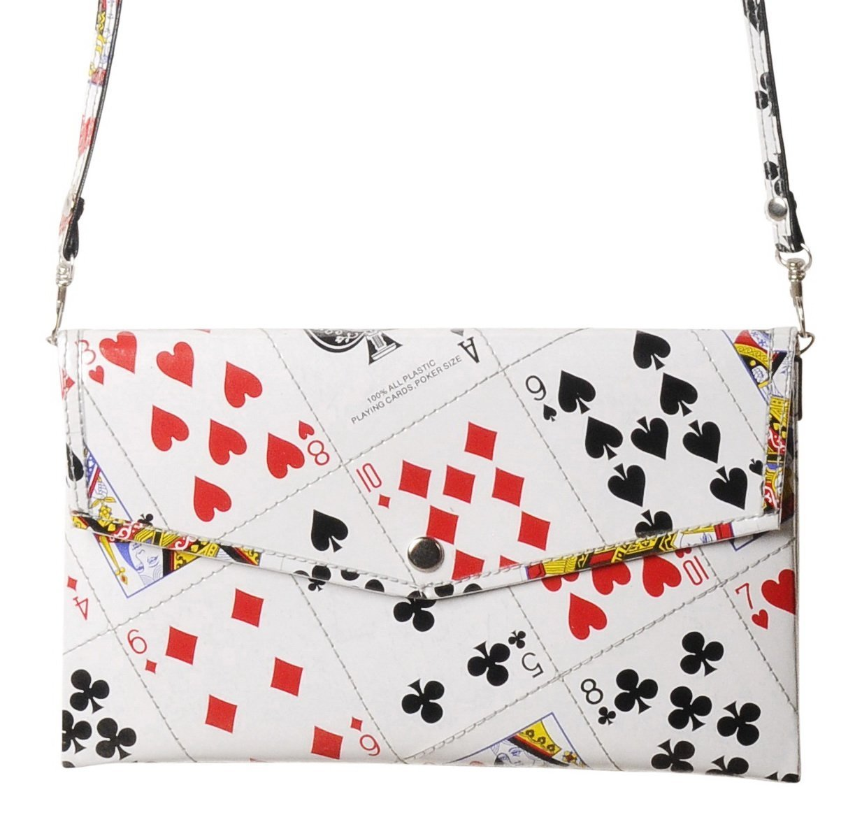 Clutch purse using play cards - FREE SHIPPING - upcycled eco friendly vegan recycled reclaimed salvaged handmade unique gift wallet evening wedding slim shoulder las vegas bag poker solitaire player by Upcycling by Milo