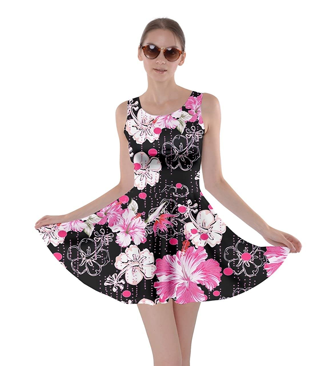 Cowcow womens hawaii hibiscus tropical flowers floral leaves summer cowcow womens hawaii hibiscus tropical flowers floral leaves summer party skater dress xs 5xl at amazon womens clothing store izmirmasajfo