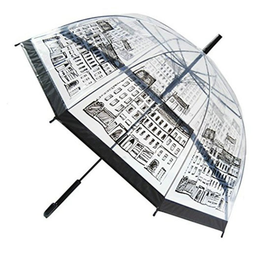 ASOSMOS Semi-Automatic Transparent and Long Handle Umbrella for Rain & Wind
