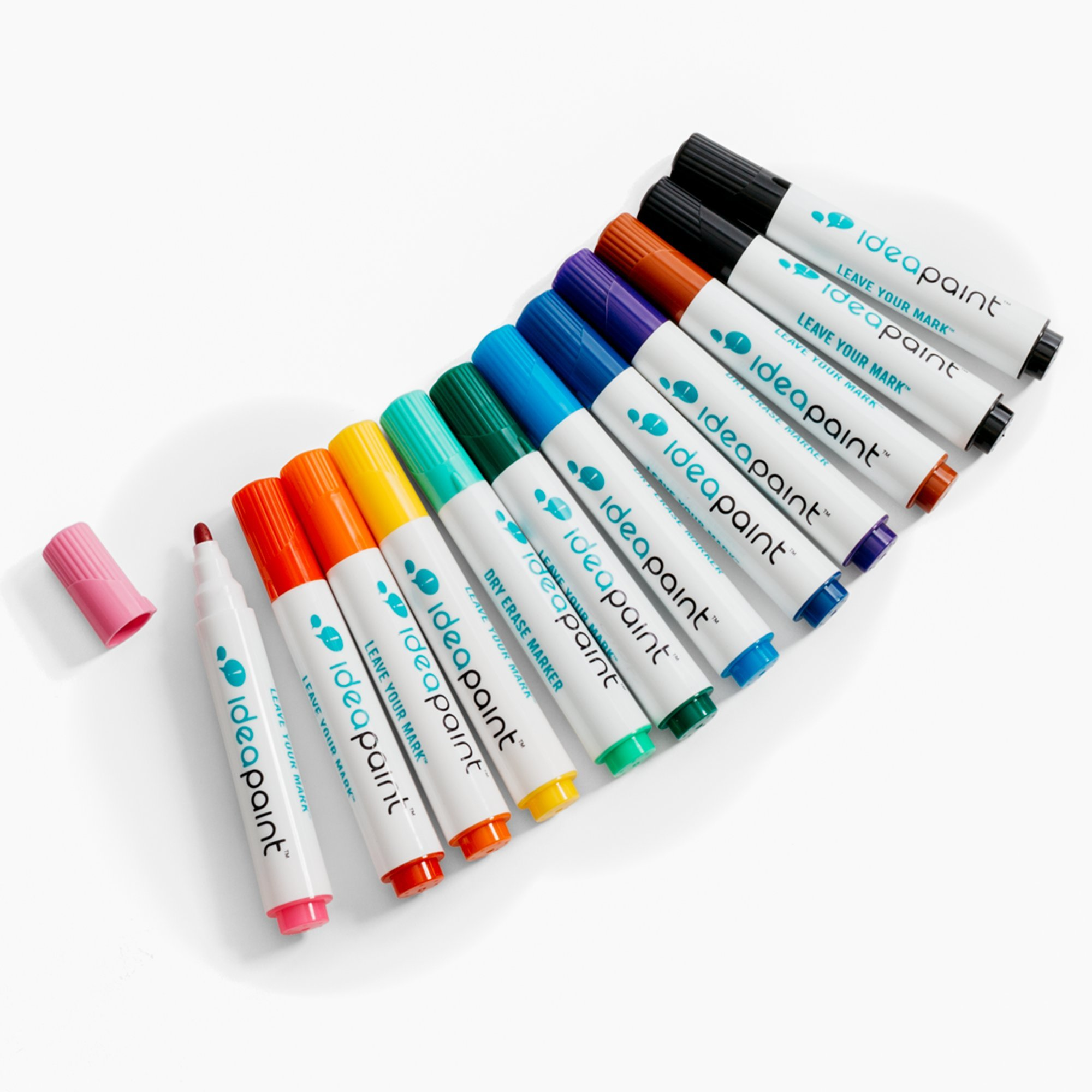 IdeaPaint Write Dry Erase Markers 12 Pack Low Odor Non-Toxic, Multi-Colors Assorted with Tray | 2 Black, 1 Brown, Purple, Dark Blue, Light Blue, Dark Green, Light Green, Yellow, Orange, Red, and Pink