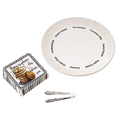 Mud Pie Circa Cermanic Cookie Plate Set, White