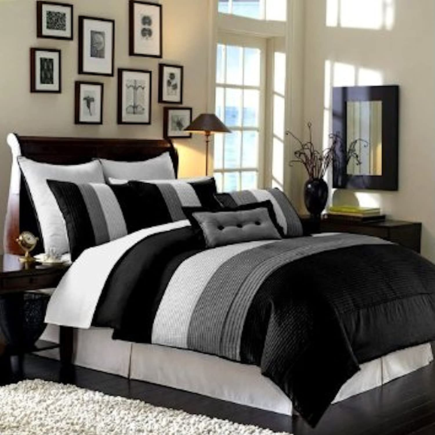 8 Pieces Black White Grey Luxury Stripe Comforter (86x88) Bed-in-a-bag Set Full or Double Size Bedding