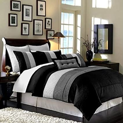 Legacy Decor 8pcs Modern Black White Grey Luxury Stripe Comforter 90 X92 Set Bed In Bag Queen Size Bedding