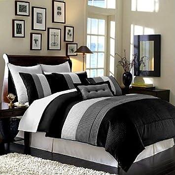 "8 Pieces Black White Grey Luxury Stripe Comforter (86""x88"") Bed-"