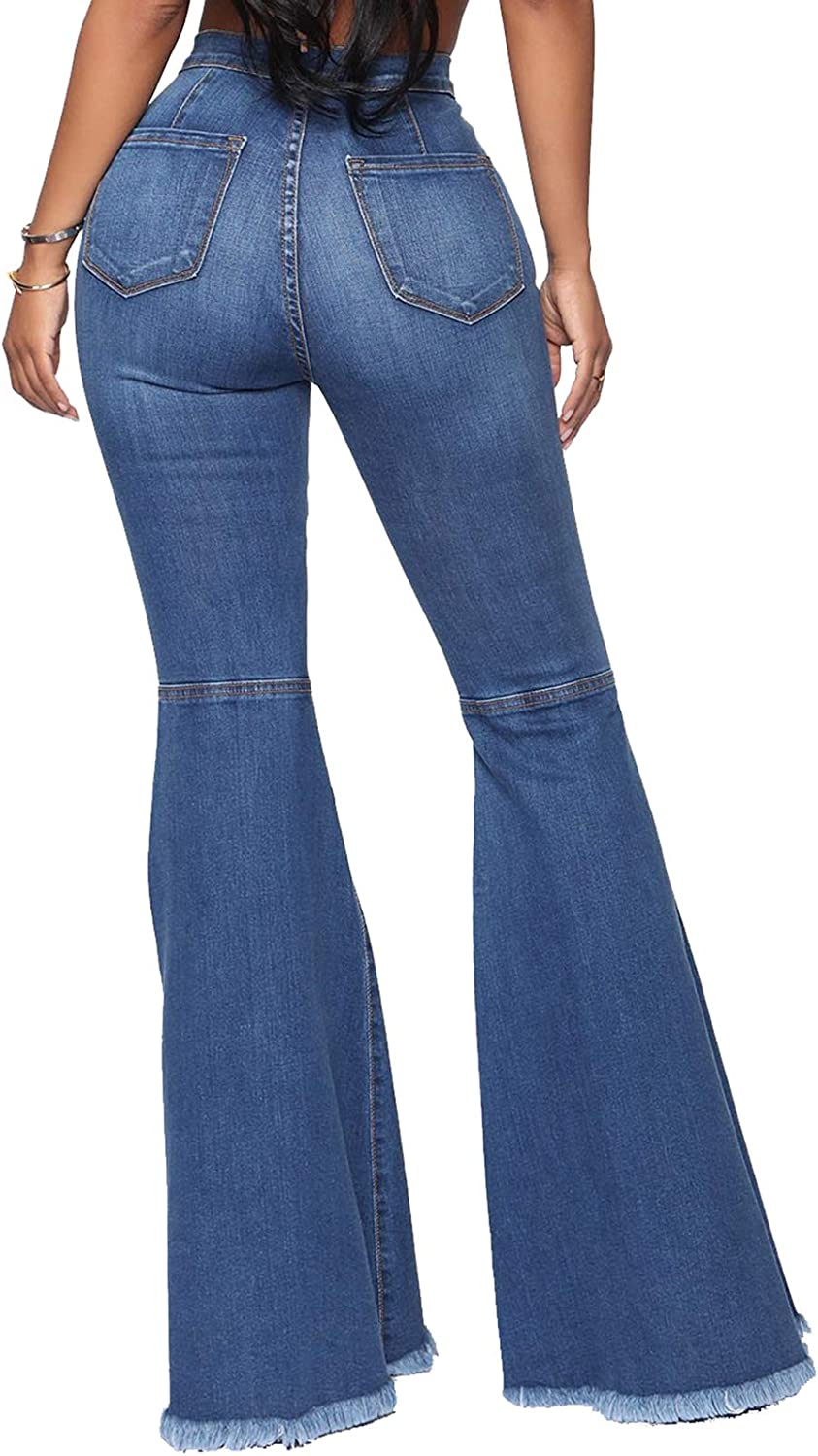 YouSexy Womens Flare Bell Bottom Jeans Knee Ripped Fitted Destroyed Flare Denim Pants