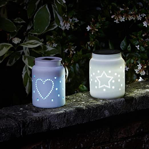 Heart Star Ceramic Lantern Amazon Co Uk Lighting