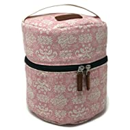 10-bottle Essential Oil Diffuser Carrying Case Tote for doTERRA, Young Living Bottles for Aromatherapy Travel or Storage with Power Adapter Compartment (Pink)