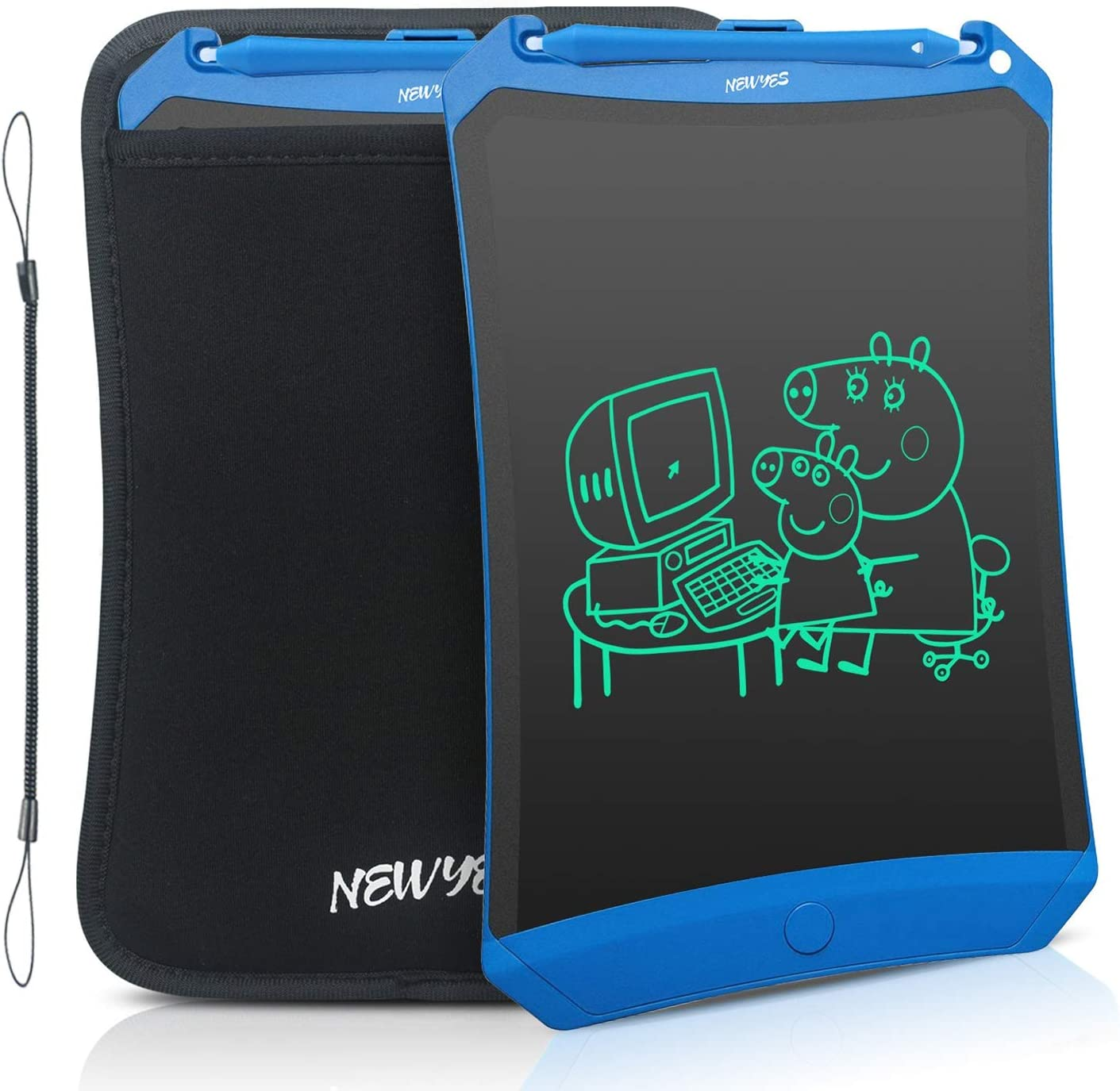 NEWYES Robot Pad 8.5 Inch LCD Writing Tablet Electronic Writing Pads Drawing Board Gifts for Kids Office Blackboard with Lock Function (Blue+Case+Lanyard)