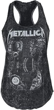 Metallica Ouija Guitar Mujer Top Negro, Regular