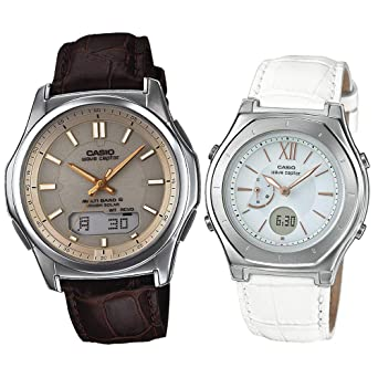 49185070134d4b [カシオ]CASIO ソーラー電波腕時計 WAVE CEPTOR ウェーブセプター 本革バンド ペアウォッチ