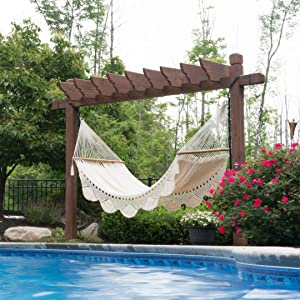 Wholestory Large Woven 2 Person Nicaraguan Rope Crochet Spreader Bar Double Backyard Outdoor Tree Hammock- White