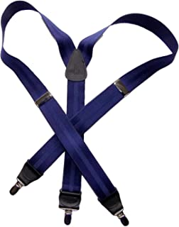 """product image for Holdup Suspender Company's Blue Stripe Jacquard 1 1/2"""" Y-back style suspender and Patented No-slip Silver-tone Clips"""