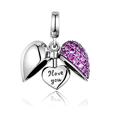 5ab346ea7 I Love You Heart Dangle Charm Sterling Silver Fit Pandora Bracelets