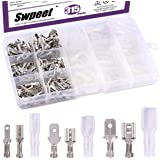 Swpeet 315Pcs 2.8/4.8/6.3mm Male and Female Spade Quick Connectors Wire Crimp Terminal Block with Insulating Sleeve…