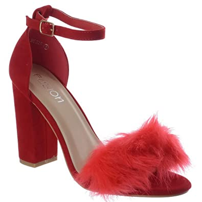 99d9f7a0f29 New Womens Fluffy Faux Fur High Block Heel Peep Toe Ladies Sandals Shoes  Size  Red