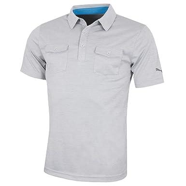 3a008d7c1 Puma Golf Mens Tailored Double Pocket Polo Shirt - Light Gray Heather - M