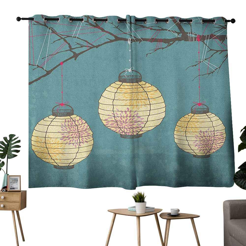 Mannwarehouse Lantern Decorative Curtains for Living Room Three Paper Lanterns Hanging on Branches Lighting Fixture Source Lamp Boho 70%-80% Light Shading, 2 Panels,55'' Wx45 L Teal Pale Yellow