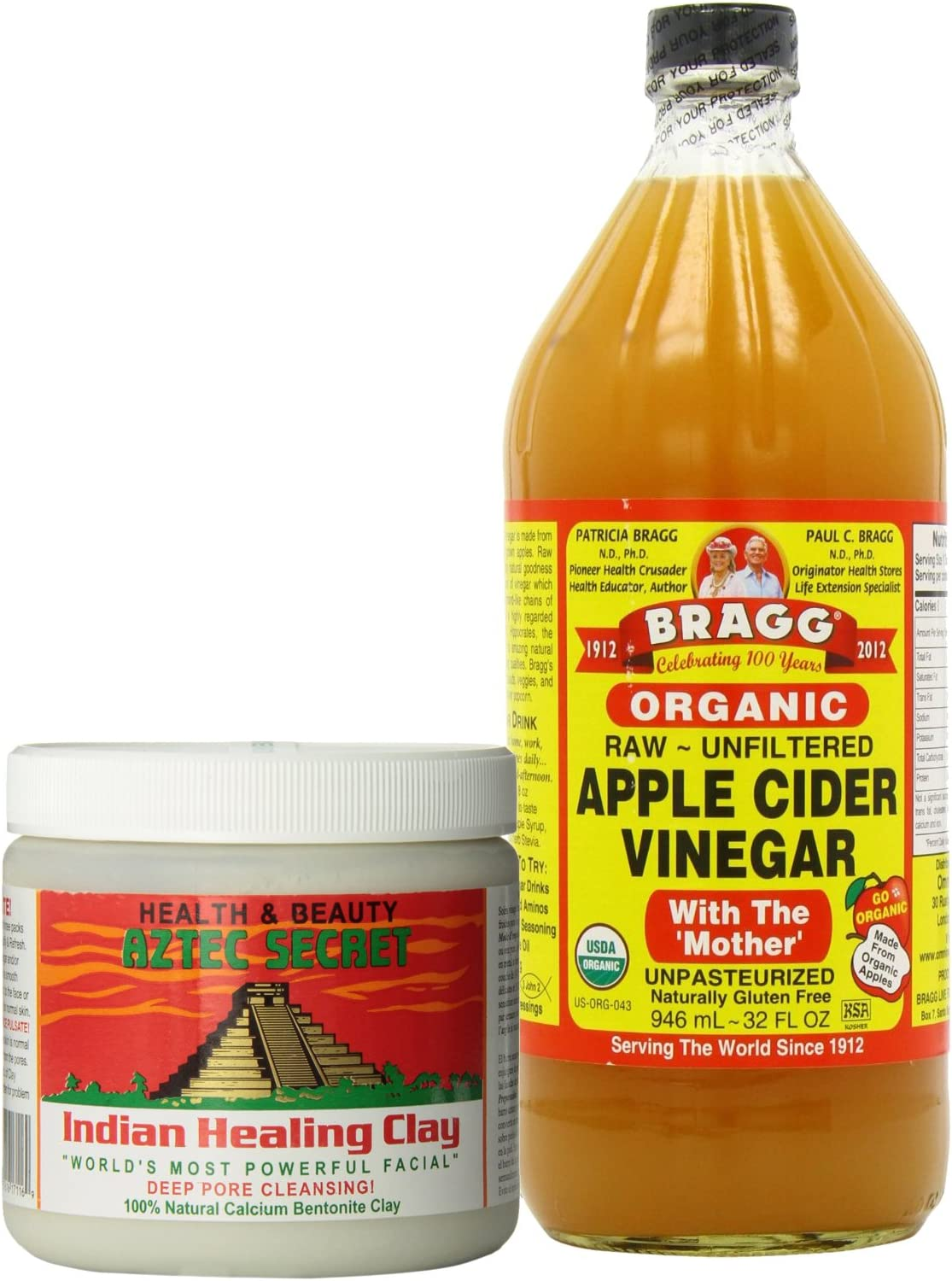 Aztec Secret Indian Healing Clay Deep Pore Cleansing and Bragg Apple Cider Vinegar Organic Raw Bundle Bragg 32 oz Liquid