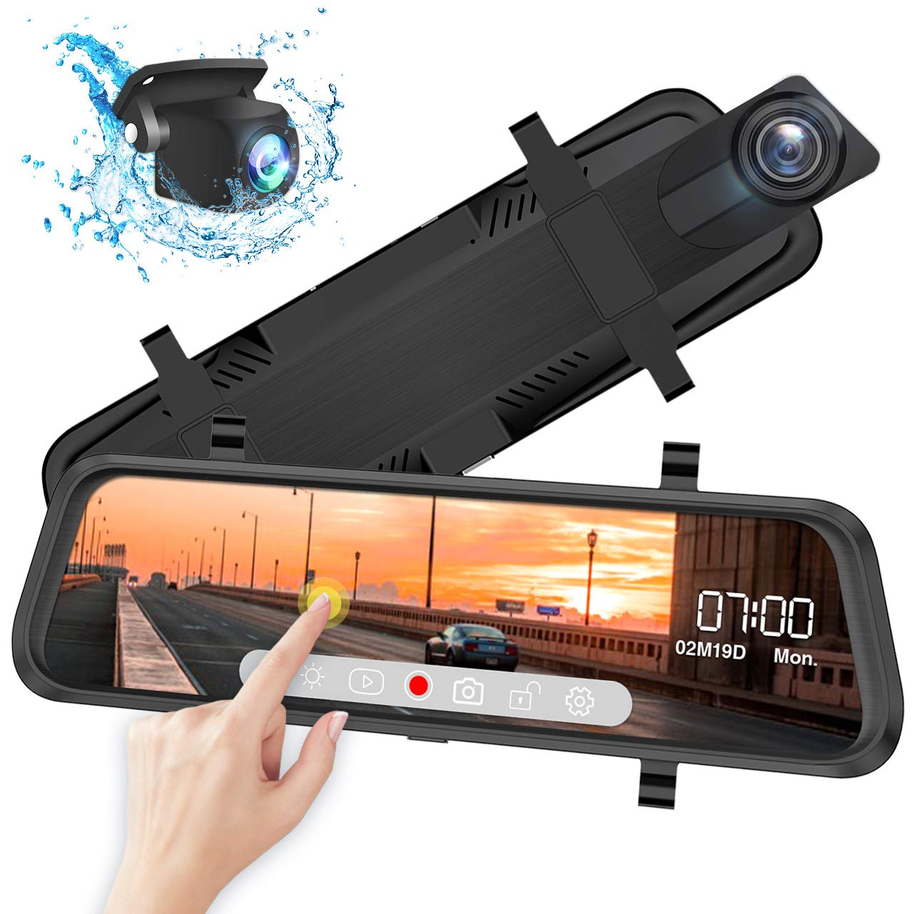 Front and Rear View Mirror Dash Cam, 1080P 170° Wide Angle Front Camera and 720P 140°Wide Angle Streaming Rear Camera, 10inch IPS Dashcam Touch Screen, Backup Camera with Night Vision, G-Sensor by iiwey