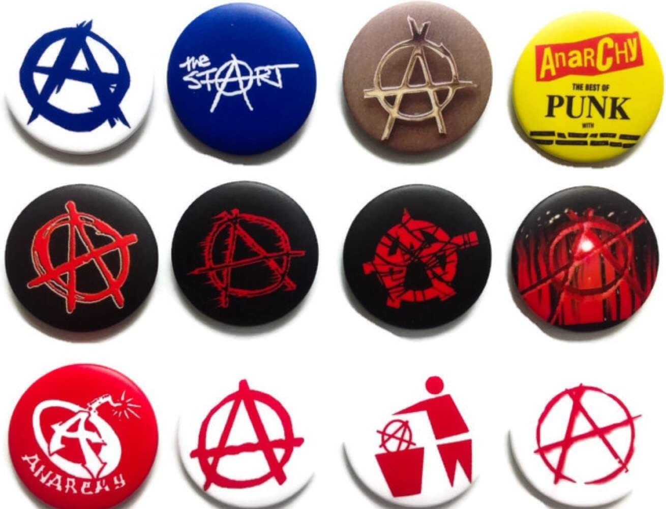 ANARCHY Symbol 4 fan Awesome Quality Lot 12 New Pins Pinback Buttons Badge 1.25