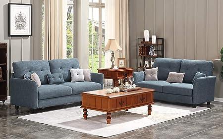 HONBAY 2 Piece Sofa and Loveseat Set for Living Room Furniture Sets, Dark Grey