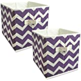 """DII Foldable Fabric Storage Containers for Nurseries, Offices, Closets, Home Décor, Cube Organizers & Everyday Storage Needs, (Large - 11 x 11 x 11"""") Chevron Eggplant - Set of 2"""