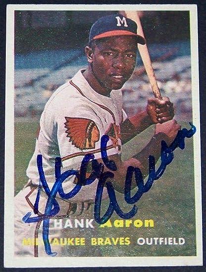 1957 Topps Hank Aaron Autographed Signed Memorabilia Auto