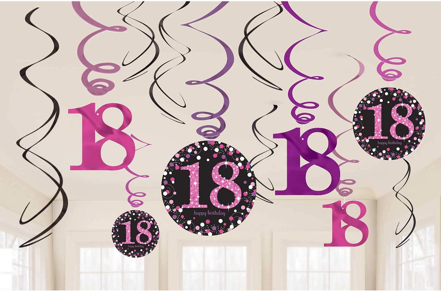 Pink shimmer 18th birthday hanging swirl decoration Toy Toy