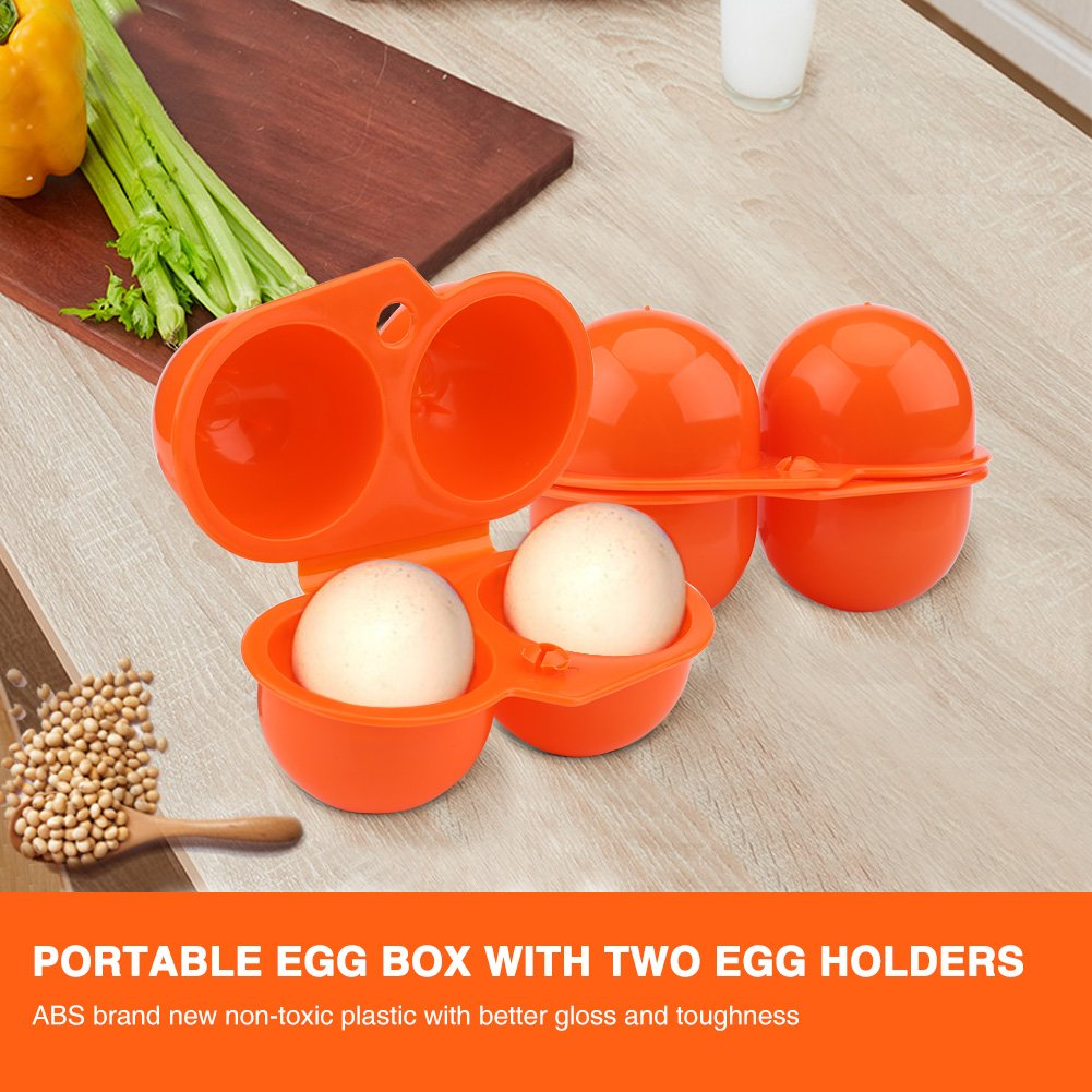 GLOGLOW 2pcs Eggs Shockproof Storage Box, Chicken Egg Tray Container for Outdoor Picnic Camping Use Bin Eggs Box Protector(Orange) by GLOGLOW (Image #3)