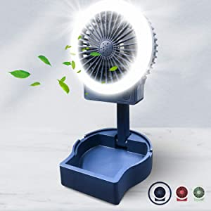 Desk Small Fan with Fill Light, USB Rechargeable, 3 Speeds 2 Brightness Setting Foldable Portable Table Mini Fan, Bright Quiet Operation, Long Lasting for Home Office Car Outdoor Travel (Blue)