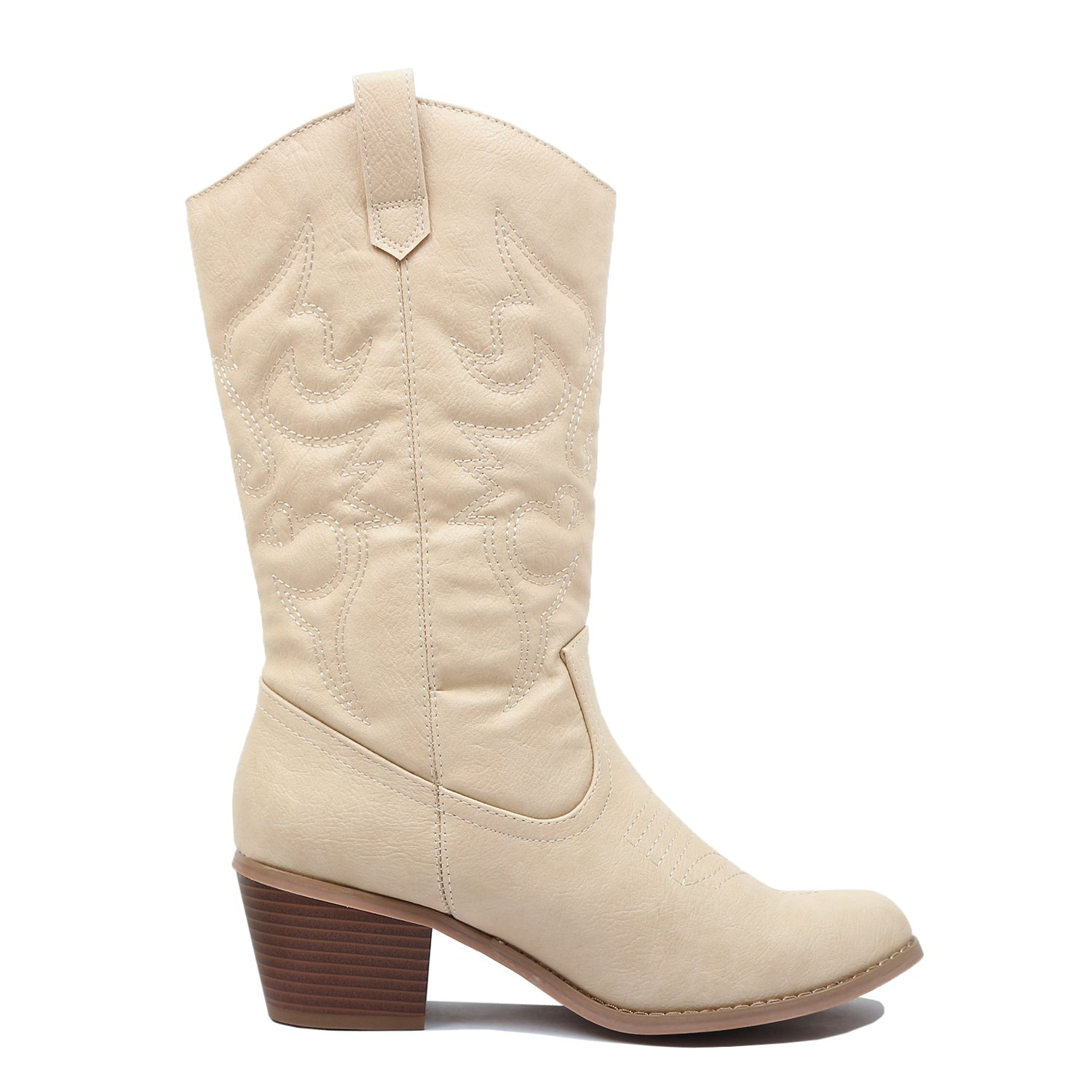 West Blvd Miami Cowboy Western Boots Boots, Beige Pu, 10 (B) M US by West Blvd (Image #4)