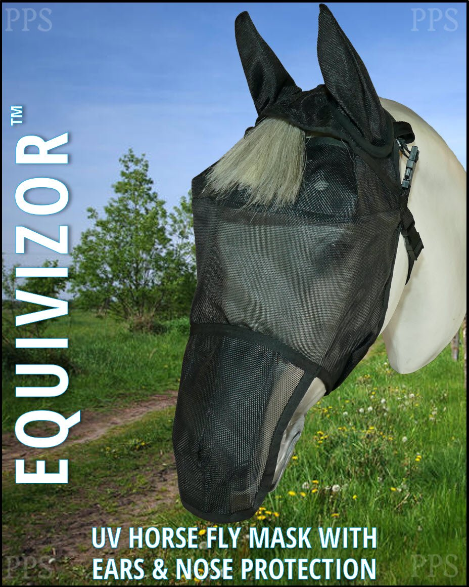 Equivizor 95% UV Eye Protection Horse Fly Mask (W/Nose and Ear Protection, Size COB) Superior Protection from UV Rays and Biting Insects. Designed to Stay On Your Horse, Not The Ground by Equivizor