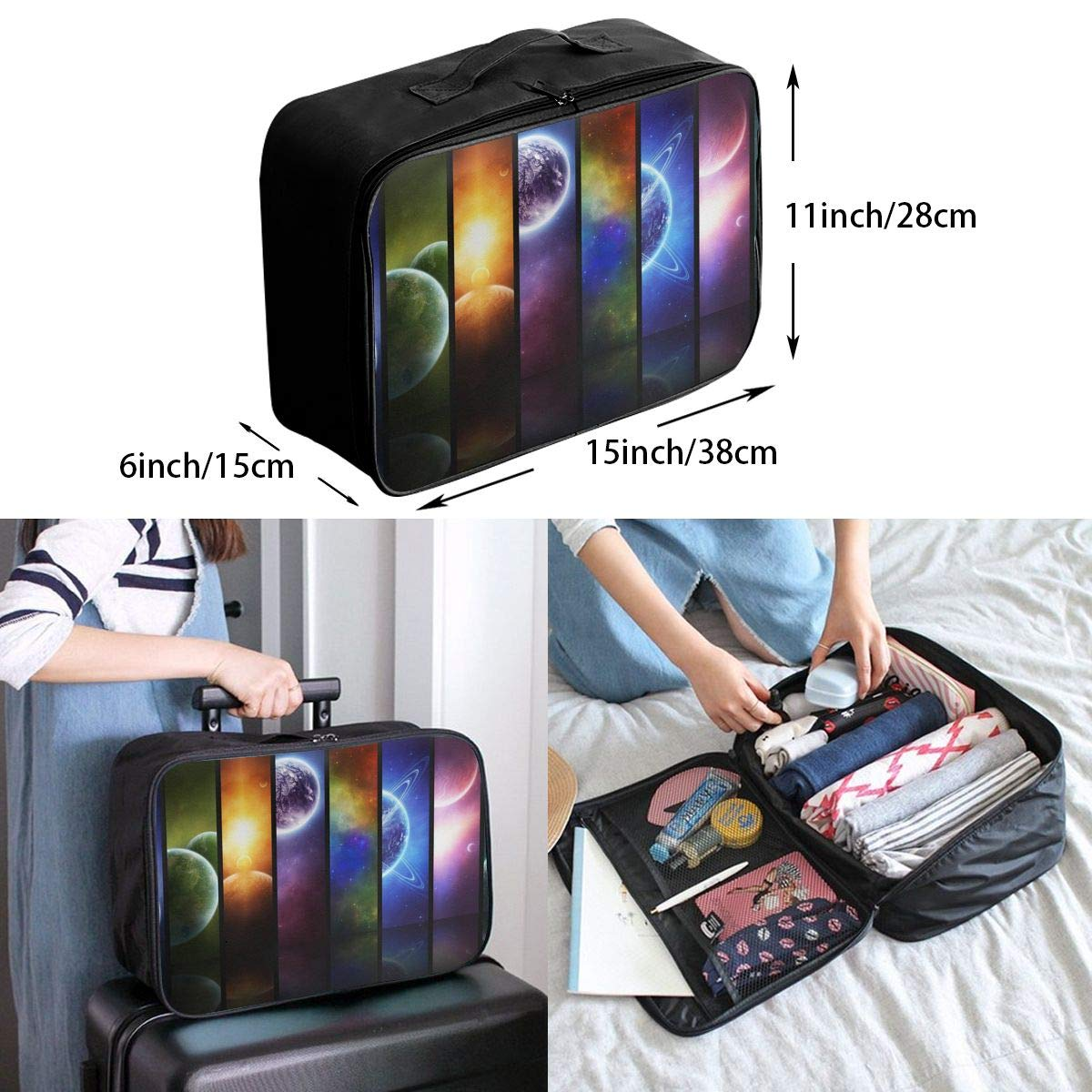 Travel Luggage Duffle Bag Lightweight Portable Handbag Planet Print Large Capacity Waterproof Foldable Storage Tote