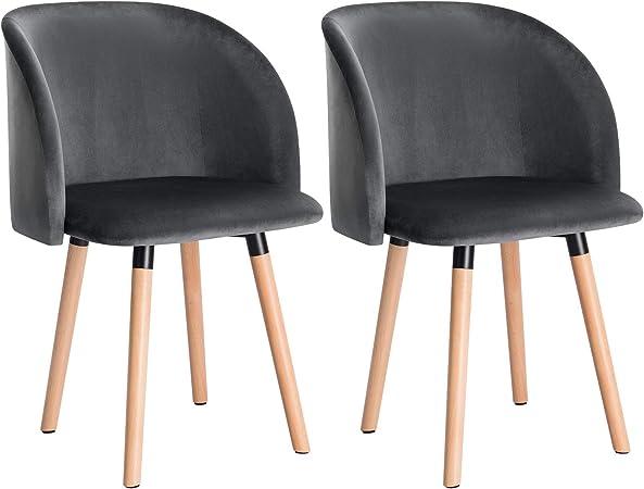 WOLTU 2X Sillas de Comedor Nordicas Estilo Vintage Dining Chairs Juego de 2 Sillas de Cocina Tulip Sillas Tapizadas en Terciopelo Silla de Conferencia Silla de Escritorio Gris Oscuro BH121dgr-2: Amazon.es: Hogar