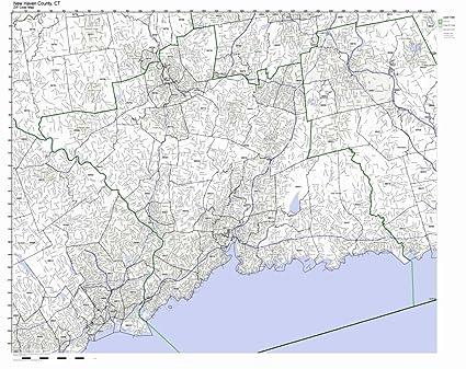 New Haven Zip Code Map.Amazon Com New Haven County Connecticut Ct Zip Code Map Not