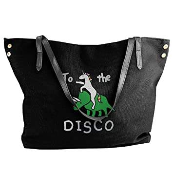 A la Discoteca Unicorn Riding dinosaurio de la mujer grande bolso bolsas lienzo bolsas de hombro bolsos: Amazon.es: Hogar